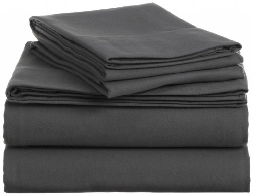 Clara Clark A 100-Percent Egyptian Cotton Flannel 4-Piece Bed Sheet Set, Queen, Charcoal Gray