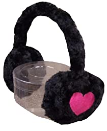 N'Ice Caps Girls Soft Velboa Faux Fur Ear Muffs with Heart Embroidery (black/fuchsia)