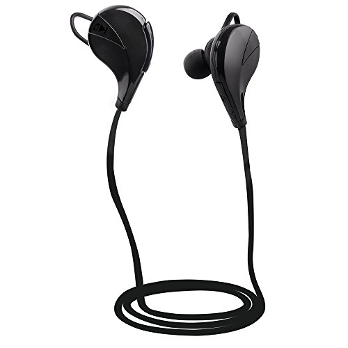 Sunvito Wireless Bluetooth 4.0 Headphone, Mini Lightweight In Ear Sweatproof with Microphone for iPhone, iPad, iPod, Android, Samsung Galaxy, Smart Phones Bluetooth Devices (Black)
