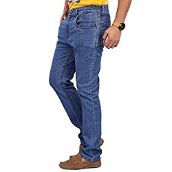 Zaab Men's Cotton Relaxed Fit Jeans, Blue (30)