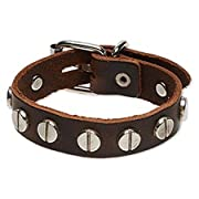 Round Studded Brown Leather Mens Buckle Bracelet