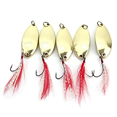 5Pcs Fishing Tackle Tools Gold Spoon Lure Spinner Feather Bait Fresh Salt Water by Pinzhi