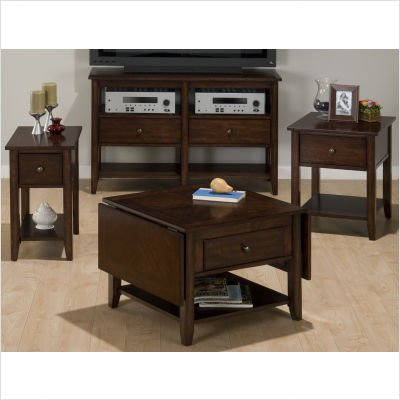 Buy Low Price Jofran Double Header Drop Leaf Cocktail Table Set in Deep and Warm Cherry (354-1 / 354-3)