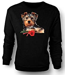 Sweatshirt Yorkshire Terrier Dog with Rose from Black Sheep Clothing
