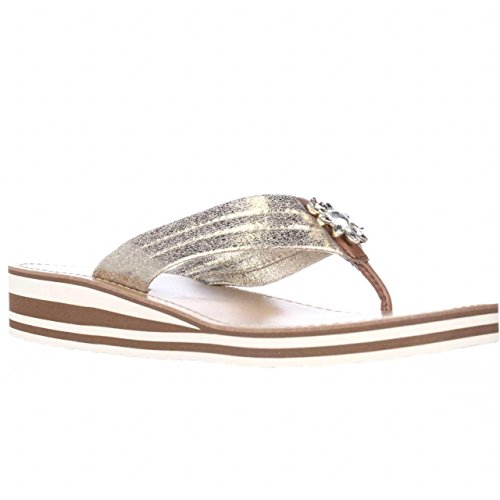 Tommy Hilfiger Rayce Jewel Flower Flip Flops - Gold Multi