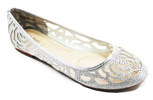 Walstar Women Basic Glitter Mesh Flat Slip on Shoes,7.5