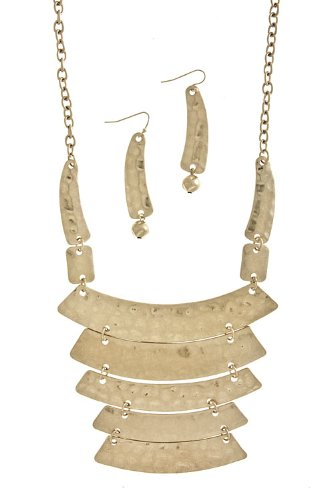 Karmas Canvas Hammered Crescent Stacked Necklace (Matted Gold)