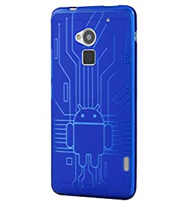 HTC One Max Case, Cruzerlite Bugdroid Circuit TPU Case Compatible for HTC One Max - Blue