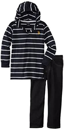 U.S. Polo Assn. Little Boys' Knit Hoodie and Denim Jean, Black, 4