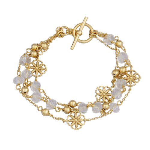 18k Yellow Gold Plated Sterling Silver White Crystal Stacked Layered Beads and Flowers Bracelet, 7.25