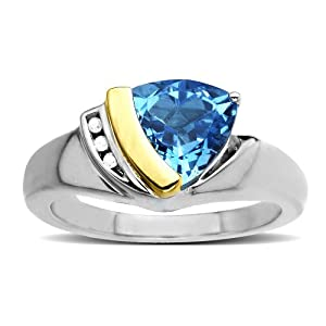S&G Sterling Silver and 14k Yellow Gold Diamond and Trillion Cut Swiss Blue Topaz Ring (0.1 cttw, I-J Color, I3 Clarity), Size 9