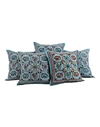 Traditional Blue 16x16 Home Decor Cushion Cover Set of 5 Elephant Cotton Pillow Covers Soft Embroidered Throw Pillow By Rajrang