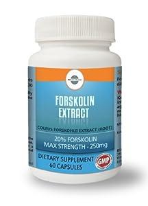 Forskolin Extract | Coleus Forskohlii Extract (root) 20% forskohlin | Max Strength - 250mg 60 capsules