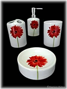 4pc porcelain red flower daisy bathroom for Floral bathroom accessories set