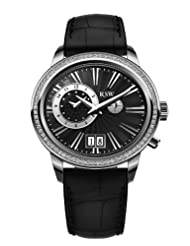 RSW Men's 9140.BS.L1.1.D1 Consort Diamond Stainless Steel Dual Time Zone Big Date Black Leather Watch