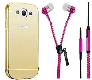 Novo Style Back Cover Case with Bumper Frame Case for Samsung Galaxy J5 Golden + Zipper Earphones/Hands free With Mic 3.5mm jack