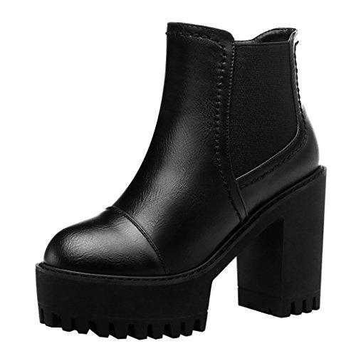 Guciheaven Winter New Western Style Platform Short Boots(5 B(M)Us, Black)