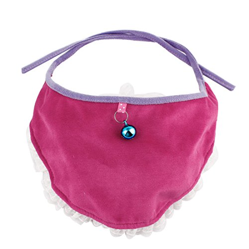 Metal Bell Accent Pet Cute Bandana Triangle Collar Fuchsia front-1044438