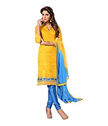 Fabdeal Womens Chanderi Unstitched Dress Material (HUN2DR4204NCR_Yellow)