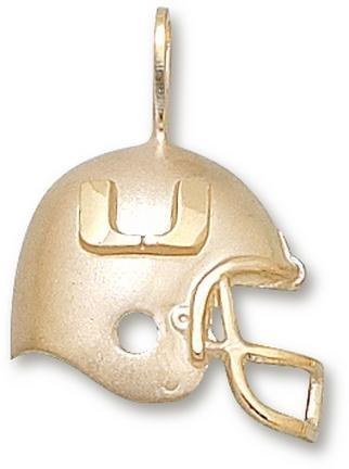 Miami Hurricanes U Helmet Pendant - 14KT Gold Jewelry by Logo Art