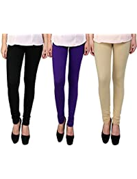 Snoogg Womens Ethnic Chic Inspired Churidar Leggings In Black, Purple And Beige