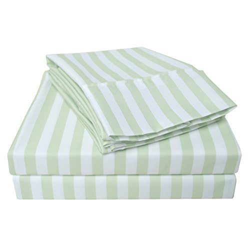 Wrinkle Resistant 3000 Series Cabana Stripe King Bed Sheet Set, Sage (Ca King Fitted Sheet Only compare prices)