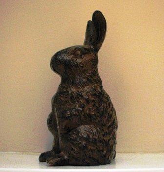 Cast Iron Standing Rabbit Garden Figure