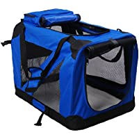 "Homcom Folding Fabric Soft Portable Pet Dog Cat Crate Puppy Kennel Cage Carrier House Medium 23"" Blue New"