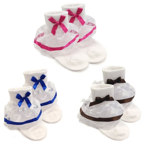 Wrapables Lil Miss Bella Lace & Ribbon Ruffle Socks For Toddler Girl, Size 4-6 (Set Of 3)- Navy Blue, Hot Pink, Brown front-559575