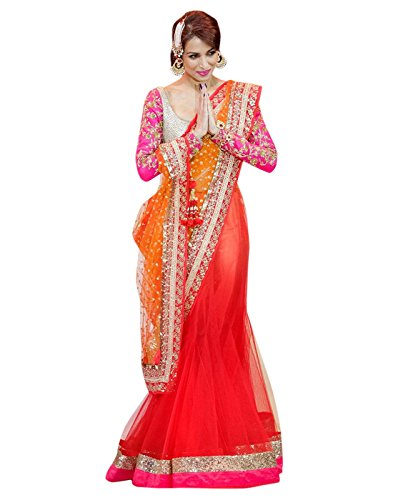 7thWonder Pink , Orange & Beige Color Net & Row Silk Embroidered Party Wear Saree with Blouse Piece-7WJ693SE313  available at amazon for Rs.2549