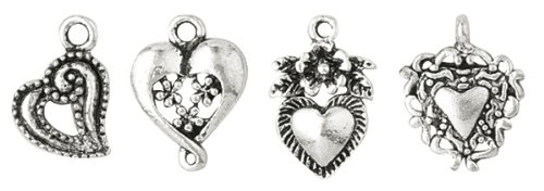 Blue Moon Plated Metal Dangle Charms, Silver Medium Heart Assortment, 10/Pkg