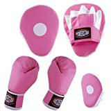 Curved focus pad pink 6oz plan ps logo boxing blk gloves