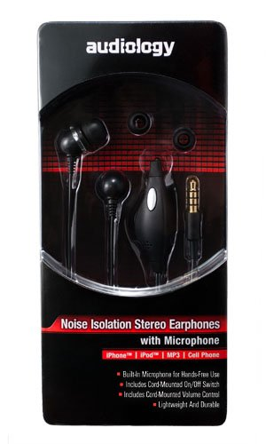 Audiology Au-Epm30-Bl In-Ear Stereo Earphones With Microphone For Mp3 Players, Ipods And Iphones (Black)