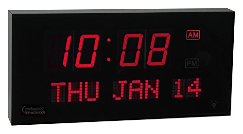 Candlewood Homegoods 16-Inch Digital LED Calendar Clock with Red Display (Red Digital Clock compare prices)