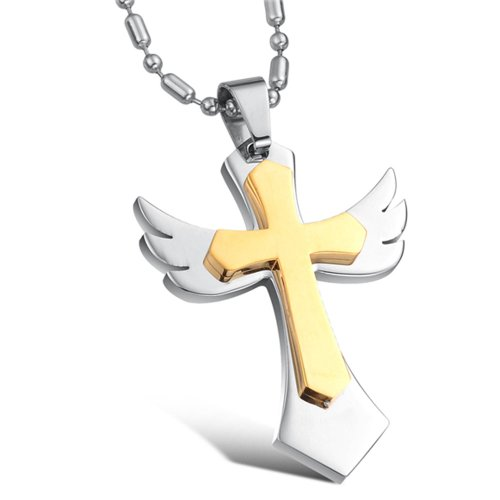 Chaomingzhen Stainless Steel gold plated Angel Wing Cross Pendant Necklace for Men Fashion Jewellery for Boyfriend Punk and Gothic Style with Chain 19.5