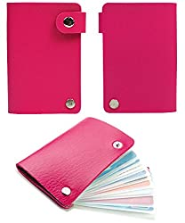 10 Slot Credit Card Wallet Style Holder with Snaps (Pink)