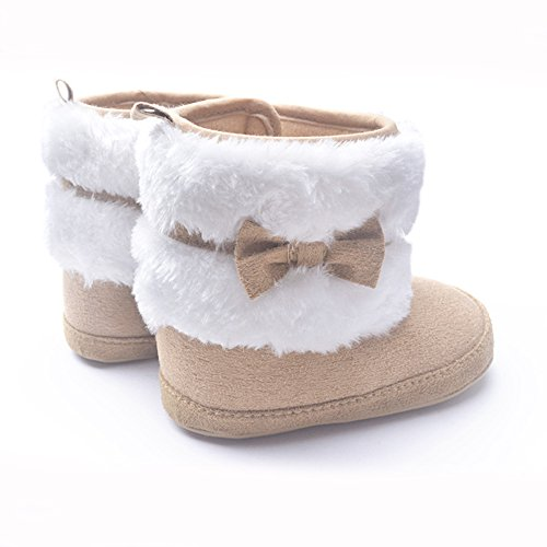 LIVEBOX Baby Girls' Premium Soft Sole Bow Anti-Slip Mid Calf Warm Winter Infant Prewalker Toddler Snow Boots (L: 12~18 months, Khaki)