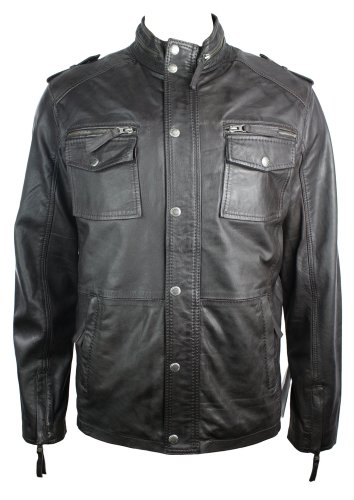 Mens Brown Retro Biker Style Jacket Real Leather Washed Vintage look