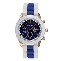 Women's Geneva Silicone Band Jelly Gel Quartz Wrist Watch Rose-red (Blue) by Sanwood