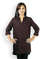 VAAK Women's Fullsleeve long shirt 100% viscose Burgundy(XS)