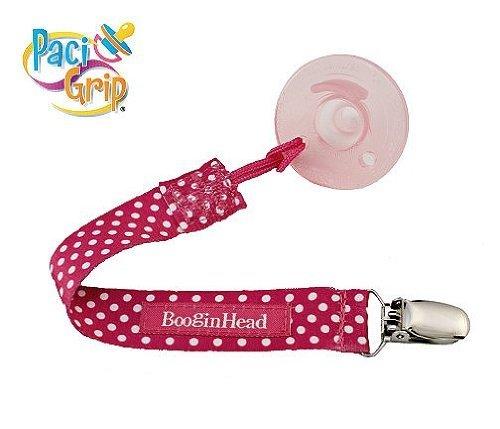 BooginHead Pacifier Holder, Pink Polka Dot