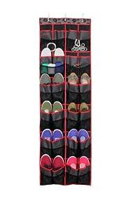 Samsonite Vanderbilt Home Collection 24-Pocket Over The Door Shoe Organizer, Black/Red