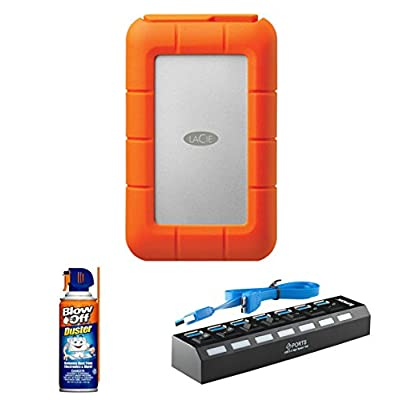 LaCie 4TB Rugged RAID USB 3.0 Thunderbolt with Professional Blow Off Air Duster Cleaner 3.75oz. 7-Port USB 3.0...