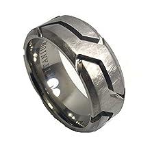 buy 8Mm Aged Rugged Grooved Brushed Titanium Wedding Band Ring (12)
