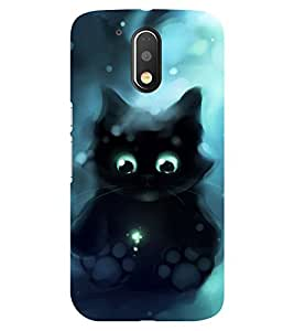 Chiraiyaa Designer Printed Premium Back Cover Case for Moto G4 Play (cat angry black) (Multicolor)