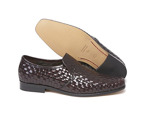 meaden bordo intrecciato in pelle Slip On by Delicious Junction, Rosso (Bordeaux), 42