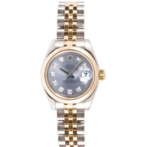 Rolex Ladys New Style Heavy Band Stainless Steel & 18K Gold Datejust Model 179163 Jubilee Band Smooth Bezel Silver Diamond Dial