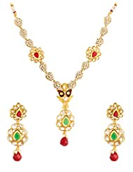 Voylla Gold Plated Necklace Set Adorned With Shiny CZ And Colored Stones - B00R1FSFRC