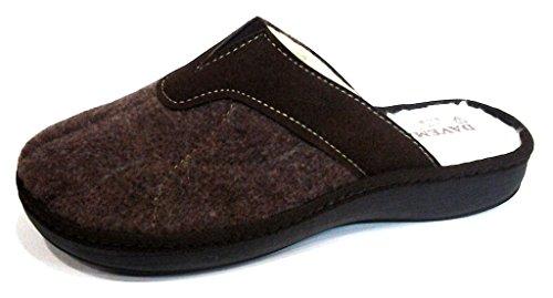 DAVEMA ciabatte pantofole lana da uomo INVERNALI mod. 1114 moro (45)