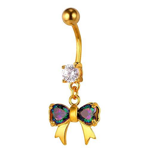 U7 Piercing de Nombril-Noeuds Papillon-Serte de Zirconium Brillant-18K Or Jaune Plaqué-Mignon Bijoux pour Femme